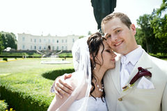 Groom and bride in luxury background Stock Image