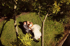 Groom and bride lying on grass Stock Image