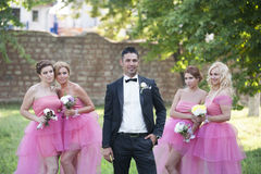 Groom and Bride maids. Groom with beautiful Bridesmaids at wedding shooting Stock Images