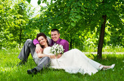 Groom and bride on a nature Stock Image