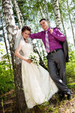 Groom and bride on a nature Stock Images