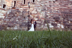 Groom and bride near a brick wall Stock Image