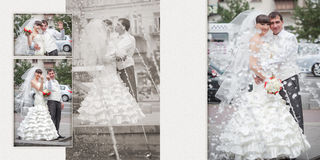 Groom and bride near the fountain Royalty Free Stock Photography