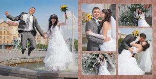 Groom and bride near the fountain Royalty Free Stock Photos