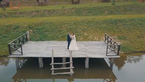 Groom with bride near lake in the park. Wedding couple. Aerial shot royalty free stock image