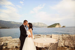Groom and bride near the sea Stock Image
