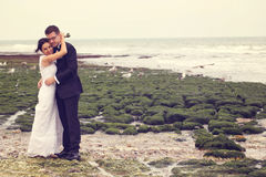 Groom and bride near the sea Royalty Free Stock Image