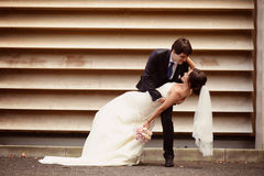 Groom and bride near a stripped wall Stock Photography