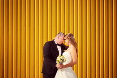Groom and bride near a yello wall Royalty Free Stock Photo