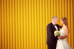 Groom and bride next to a yellow wall Royalty Free Stock Image