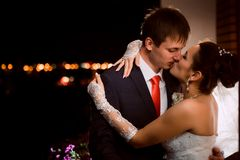 Groom and bride at night Royalty Free Stock Photo