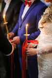 Groom and bride in orthodox church Royalty Free Stock Images