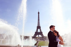 Groom and bride in Paris Royalty Free Stock Photo