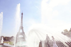 Groom and bride in Paris Royalty Free Stock Photography