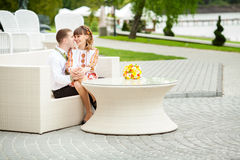 Groom and Bride in a park. wedding dress. Bridal wedding bouquet Stock Images
