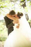 Groom and bride passionately kissing in park Royalty Free Stock Photos