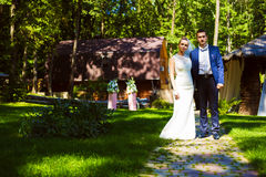 Groom and bride on path Royalty Free Stock Photography