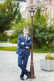 Groom, bride, pole stock photography