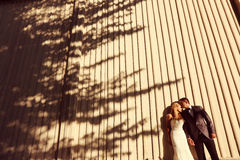 Groom and bride posing outdoor Royalty Free Stock Images