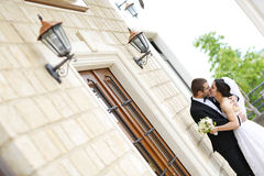 Groom and bride posing outdoor Royalty Free Stock Image