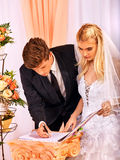 Groom and bride register marriage Stock Photo