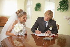 Groom and bride - registration of marriage Stock Image