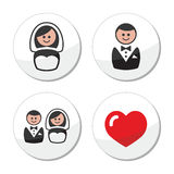 Groom and bride on round white labels Stock Photo