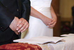 Groom and bride's hands with rings on Stock Photos
