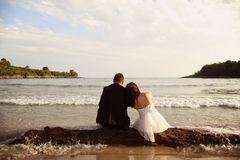 Groom and bride in the sea Stock Images