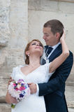 Groom and bride. Sharing tender moment Royalty Free Stock Photos