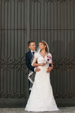 Groom and bride. Sharing tender moment Stock Photos