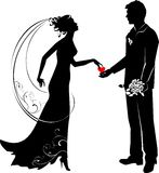 Groom and bride. Silhouette of groom and bride Royalty Free Stock Photo