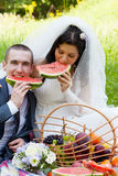 Groom with  bride sit on a grass Stock Photo