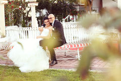 Groom and bride sitting on a bench in the garden Royalty Free Stock Images