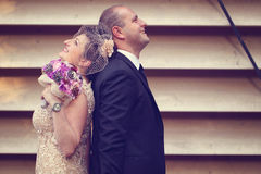 Groom and bride on their wedding day Royalty Free Stock Photography