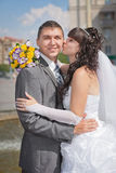 Groom and bride in their wedding day Stock Image