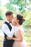 Groom and bride together. couple hugging. Wedding day. Beautiful bride and elegant groom walking after wedding ceremony. Stock Photos