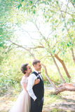 Groom and bride together. couple hugging. Wedding day. Beautiful bride and elegant groom walking after wedding ceremony. Stock Images