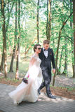 Groom and bride together. couple hugging. Wedding day. Beautiful bride and elegant groom walking after wedding ceremony. Stock Photography