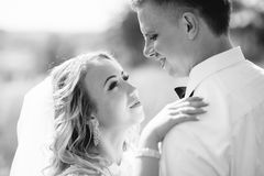 Groom and bride together. Wedding couple. Royalty Free Stock Photo