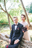 Groom and bride together. Wedding romantic couple outdoor Stock Images