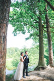 Groom and bride together. Wedding romantic couple outdoor royalty free stock photo