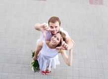 Groom and bride. Top view. Royalty Free Stock Images