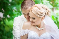 Groom and bride under tree Royalty Free Stock Images