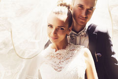 Groom and bride under veil stock images