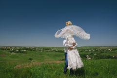 Groom and bride in a veil standing and holding hands on nature on a background of blue sky Royalty Free Stock Photo