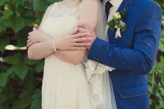 Groom and bride in a veil standing and holding hands Royalty Free Stock Photos