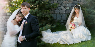 Groom and bride on walk in their wedding day Stock Photos