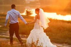Groom  and  bride is walking on the background beautiful sunset Stock Photo