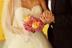Groom and bride with wedding bouquet Royalty Free Stock Photos